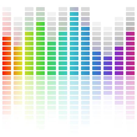 analyzer: Digital equalizer, colorful sound wave. Vector illustration Illustration