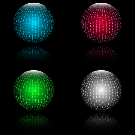 to encode: Binary code in sphere form. Vector illustration