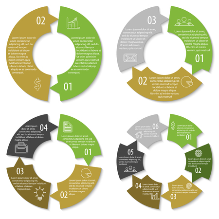 3 4: Set of round infographic diagram with arrows. Circles of 2, 3, 4, 6 elements. Illustration