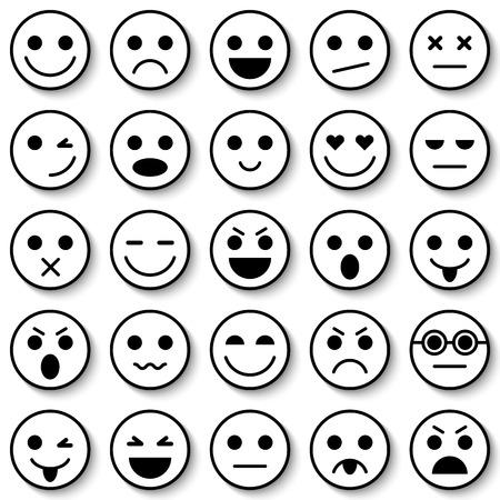 Set of Emoticons. Emoticon icons. Emoticon flat design. Emoticon collection. Isolated vector illustration