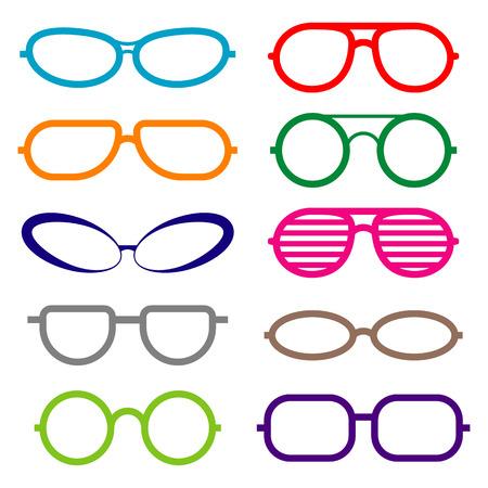 a3670eec56bed3 Set van glazen geïsoleerd. Glazen pictogrammen. Zonnebril en medische bril  Stockfoto - 62215151
