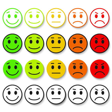 five pointed: Set of Emoticons. rank, level, load. Excellent, good, normal, bad, awful. Isolated on white background.
