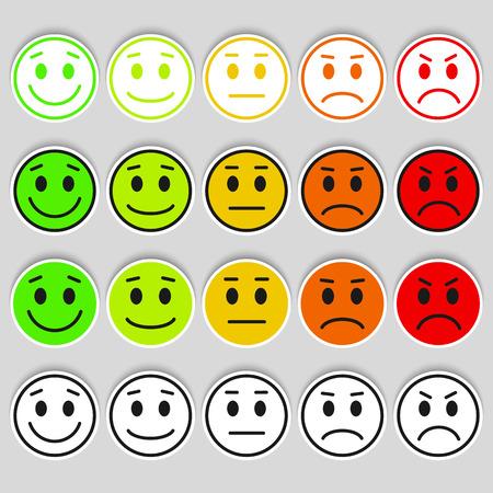 Set van Emoticons. rang, niveau, belasting. Uitstekend, goed, normaal, slecht, verschrikkelijk. Geïsoleerd op een witte achtergrond.