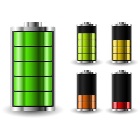 recharging: Battery charge status. Recharging accumulator. Isolated vector illustration