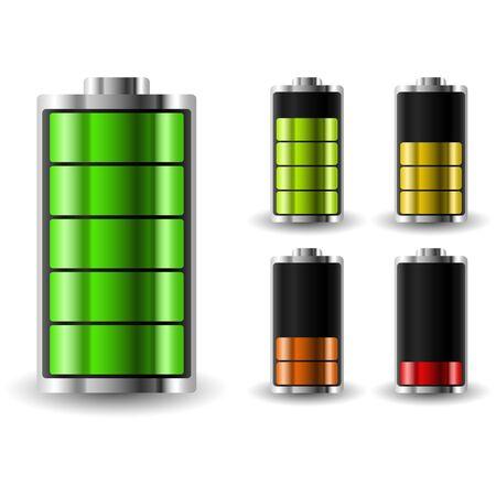 accumulator: Battery charge status. Recharging accumulator. Isolated vector illustration