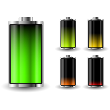 charge: Battery charge status. Recharging accumulator. Isolated vector illustration