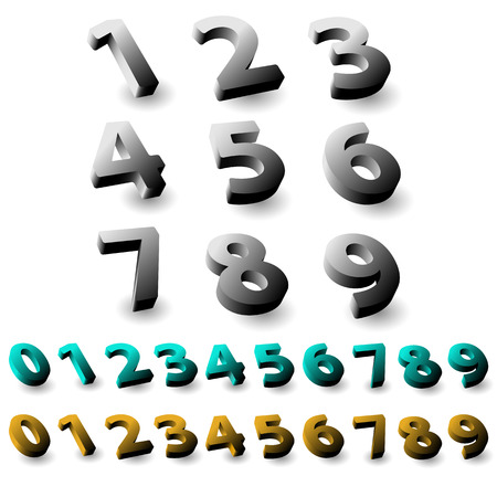 numeracy: Set of 3d numbers. Isolated font on white background