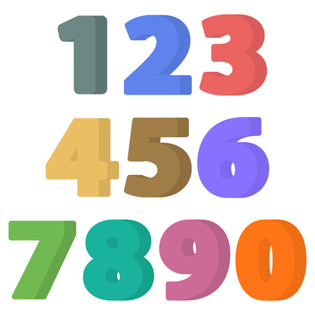 numeracy: Set of flat numbers. Colorful flat icon