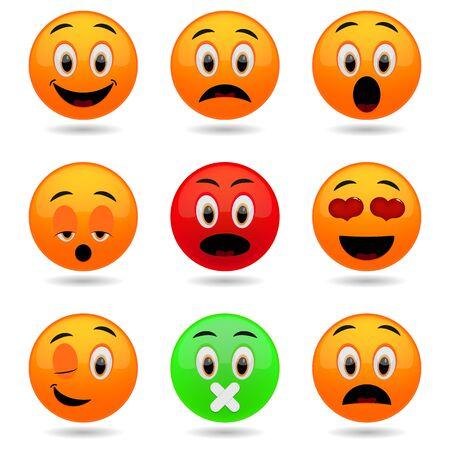 Conjunto de emoticonos. iconos sonrisa. muecas emocionales en 3D.