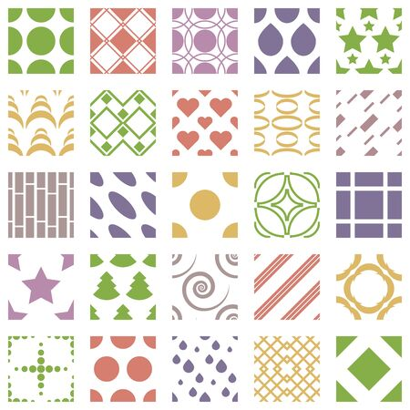 Set of 25 geometric seamless patterns with squares, circles, hearts and stars. Color geometric ornaments collections. Vector illustration Illustration