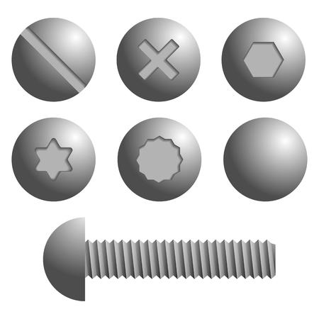 Satz von Metallschrauben, Schrauben Symbole. Isolierte Vektor-Illustration