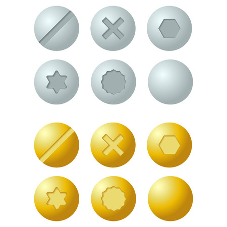 Set of metal screws, bolts icons. Isolated vector illustration
