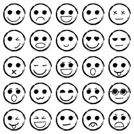 Set of Emoticons hand drawn. Collection emoji icons. Isolated vector illustration. Ilustração
