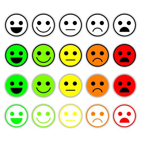 Set Emoticons. Emoji level, rang, load. Uitstekend, goed, normaal, slecht, verschrikkelijk. Geïsoleerd op een witte achtergrond. Stock Illustratie