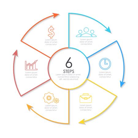 Omtrek rond infografisch element. Cirkel sjabloon 6 stappen met pijlen. Stock Illustratie