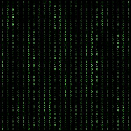 이진 코드 블록 체인. 해독 및 암호화 기술 알고리즘. 코딩 비트 코인 개념.