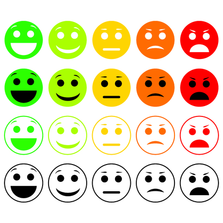 Set of Emoticons. Emoji level, rank, load. Excellent, good, normal, bad, awful. Vectores
