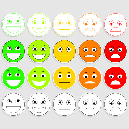 Set of Emoticons. Emoji level, rank, load. Excellent, good, normal, bad, awful. Illustration