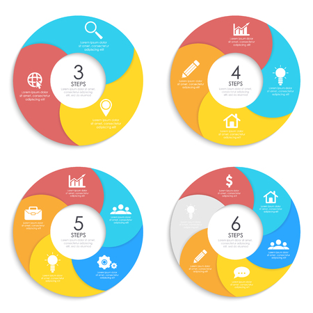 Set round spiral infographic template for circle diagram, options, web design, graph. Business concept with 3, 4, 5, 6 elements, step, option.