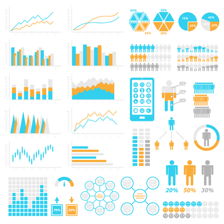 Set of infographic elements. Templates for infographic. Elements and icons collection. Vector illustrations. Illustration