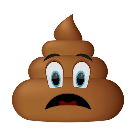 Sad face, poop emoticon isolated on white background.