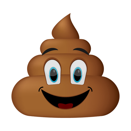 Smiling face, poop emoticon isolated on white background.