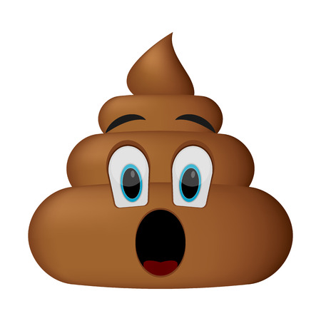 poo icon, surprise face, poop emoticon isolated on white background.