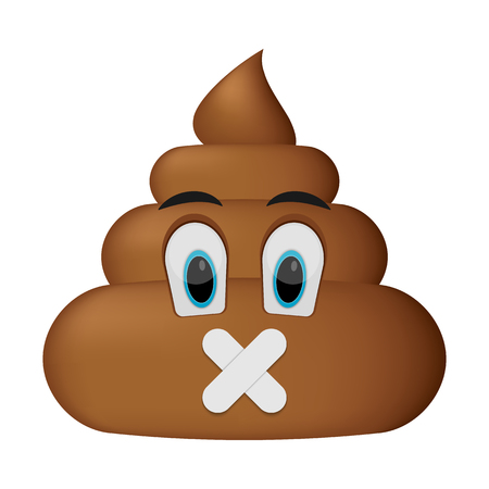 poo icon, shut up faces, poop emoticon isolated on white background. Banque d'images - 98561797