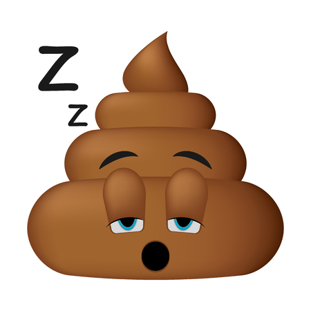 Shit icon, sleep face, poop emoticon isolated on white background. Illustration