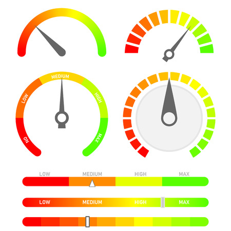 Minimalist score indicators with color levels from low to max. Abstract concept graphic element of tachometer, speedometer. Gauges vector set.