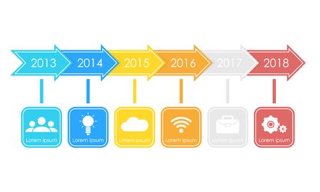 Business timeline process chart infographics template. Illustration for workflow layout, diagram, number options, web design. Illustration