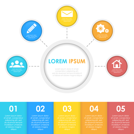 Infographics template with circle. Business concept for 5 steps, options, round.