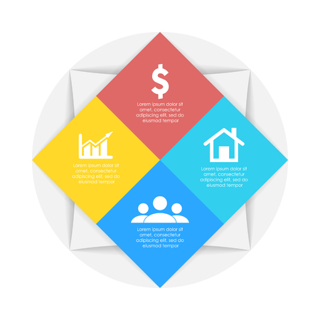 The business concept of circle is an infographic template with 4 options for graph, presentation and round chart. Vector illustration.