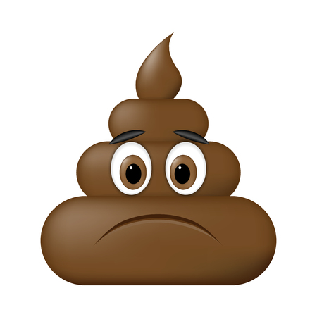 Shit icon, sad face, poop emoticon isolated on white background.