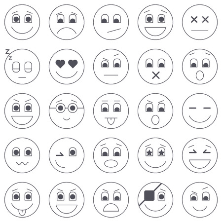 Collection of emoticon icons. Abstract emoji illustration. Smile icons vector illustration isolated on white background. Smiling card or banner