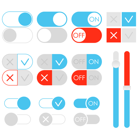 Flat toggle switch set, light theme. On and Off blue sliders. Template for app and website. User Interface with vector elements. Ilustrace