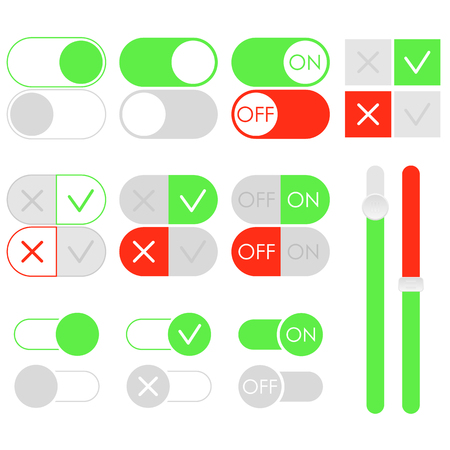 Flat toggle switch set, light theme. On and Off green sliders. Template for app and website. User Interface with vector elements.