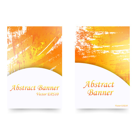 Set of orange watercolor banners. Isolated on white background. Ilustrace
