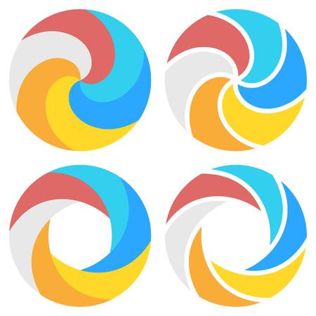 Set of spiral elements. Vector illustration. Ilustrace