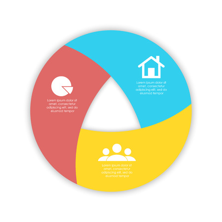Round spiral infographic template for circle diagram, options, web design, graph. Business concept with 3 elements, step, option.