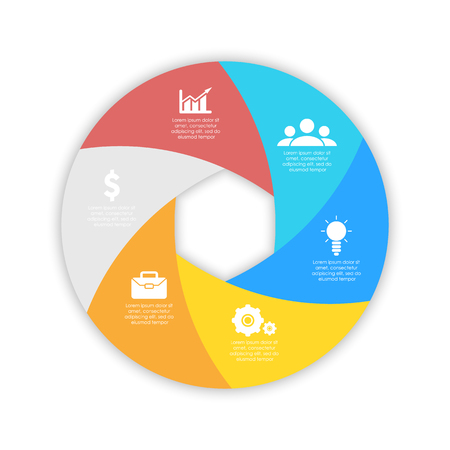 Round spiral infographic template for circle diagram, options, web design, graph. Business concept with 6 elements, step, option.