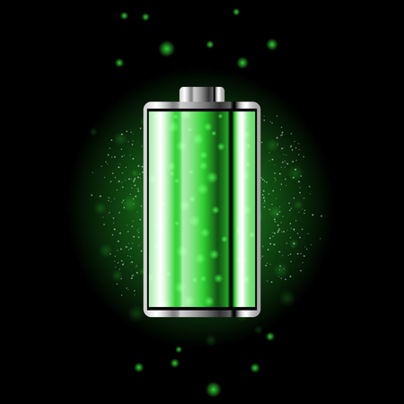 Battery charge status with lighting. Battery indicator levels. Full charge energy for mobile phone. Accumulator indicator icon of power level. Isolated on black background.