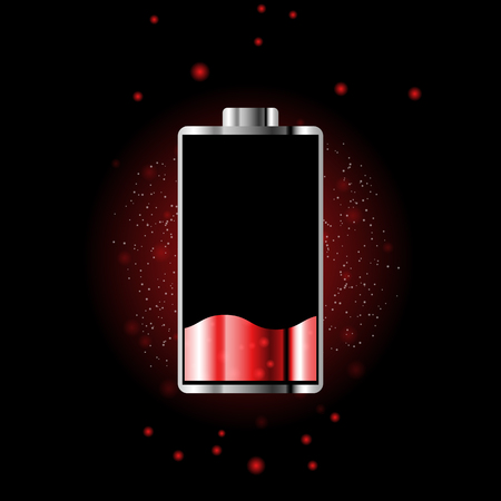 Battery charge status with lighting. Battery indicator levels. Full charge energy for mobile phone. Accumulator indicator icon of power level. Isolated on black background. Ilustrace