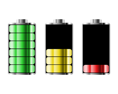 Battery charge status with lighting. Battery indicators with low and high energy levels. Full charge energy for mobile phone. Accumulator indicator icon of power level. Isolated on white background.