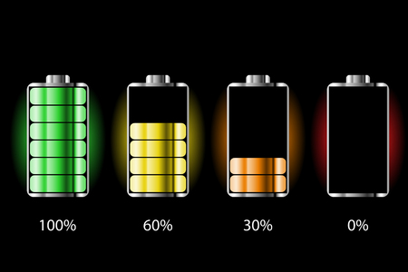 Battery charge status with lighting. Battery indicators with low and high energy levels. Full charge energy for mobile phone. Accumulator indicator icon of power level. Isolated on black background.