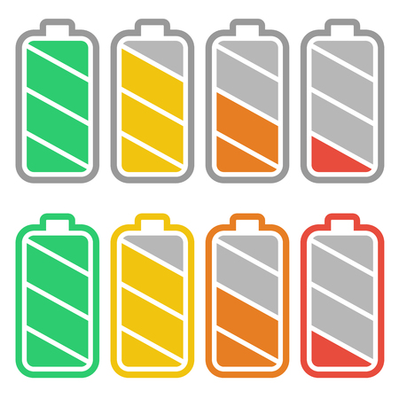 Battery charge indicators with low and high energy levels. Full charge energy for mobile phone. Accumulator indicator flat icon. Isolated on white background.