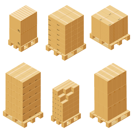 Cardboard boxes isometric set isolated on white background. Vector carton packaging box images. Ilustrace