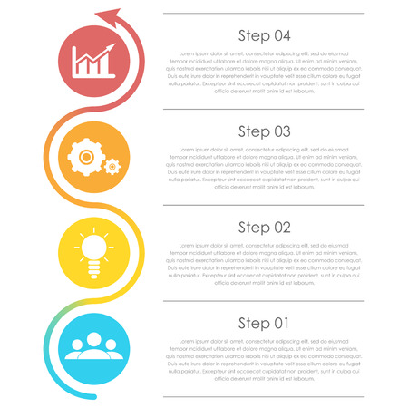 Business infographics with arrow. Template with 4 elements, steps, options, parts or processes.