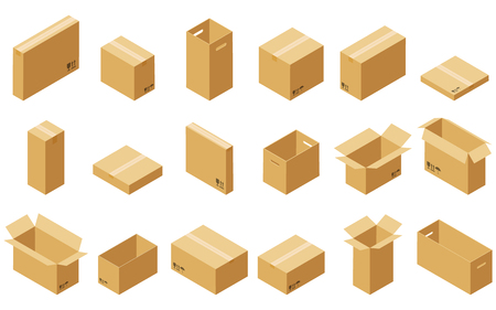 Big set of cardboard boxes isolated on white background. Vector carton packaging box images.