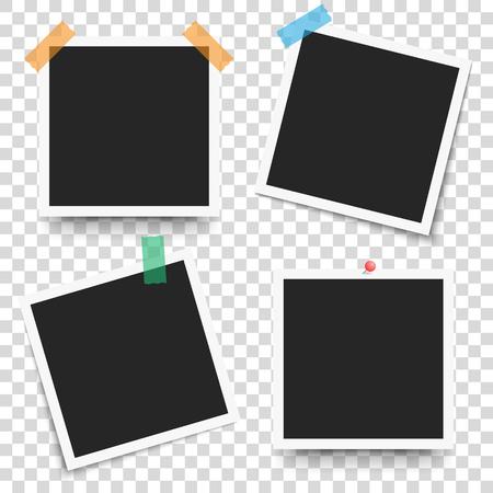 Retro frame photo frame on transparent background. Vector illustration for your photos or text. Scrapbook design. Ilustrace